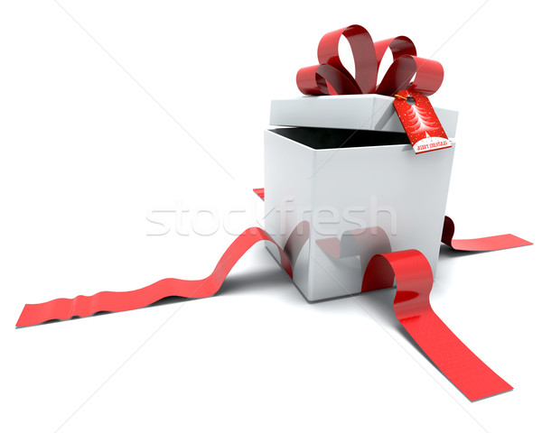 Gift Box with Ribbon and Tag Stock photo © kjpargeter