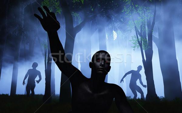 3D туманный лес 3d визуализации ночь Сток-фото © kjpargeter