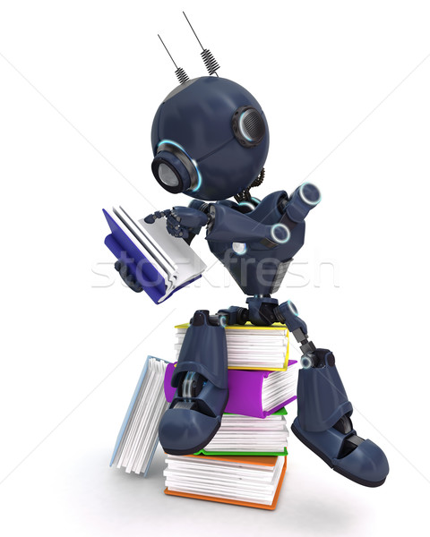 Android with stack of books Stock photo © kjpargeter