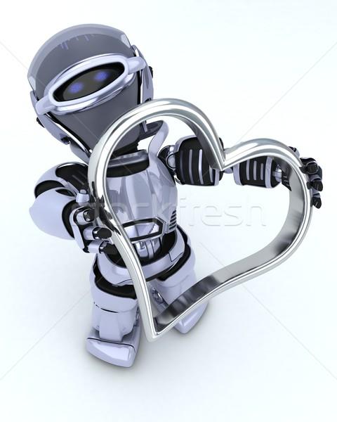 Robot kalp çekicilik 3d render sevmek adam Stok fotoğraf © kjpargeter