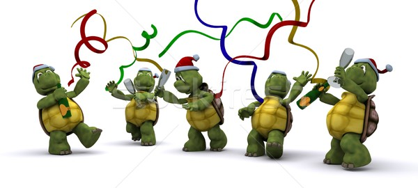 tortoises celebrating at a christmas party Stock photo © kjpargeter
