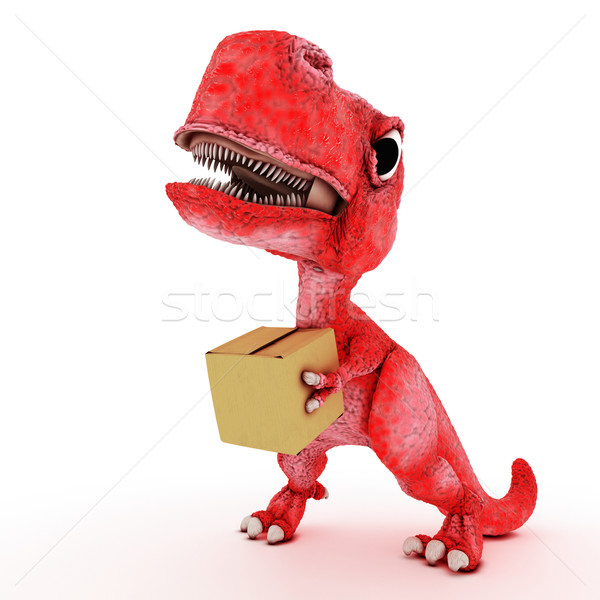 Friendly Cartoon Dinosaur with cardboard box Stock photo © kjpargeter