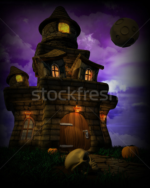 Spooky Halloween Castle Stock photo © kjpargeter