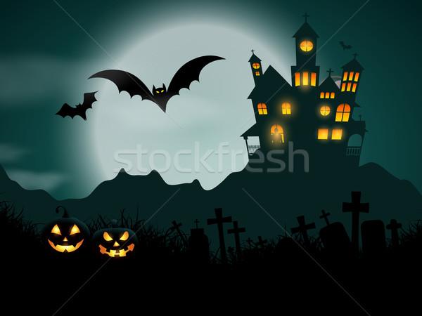 Halloween kisértetjárta ház tökök háttér kastély Stock fotó © kjpargeter