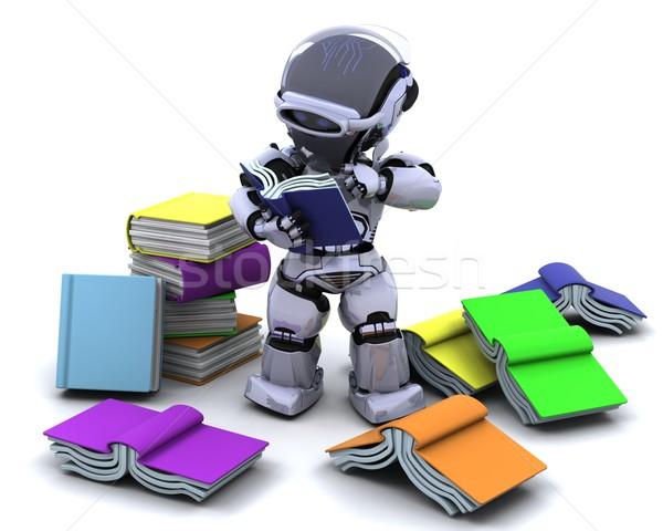 商业照片: 机器人 · 书籍 · 三维渲染 ·书· 研究 · 图书馆图片