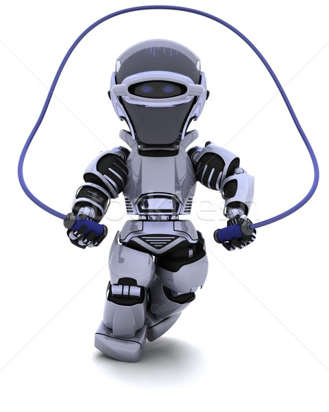 Robot skipping with rope Stock photo © kjpargeter