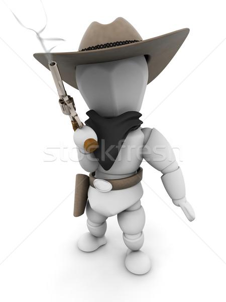 Bandiet 3d render roken pistool vrouw man Stockfoto © kjpargeter