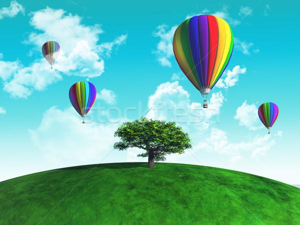 Forró levegő léggömbök fa füves földgömb Stock fotó © kjpargeter