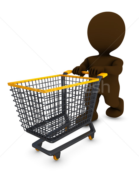 Morph Man with shopping cart Stock photo © kjpargeter