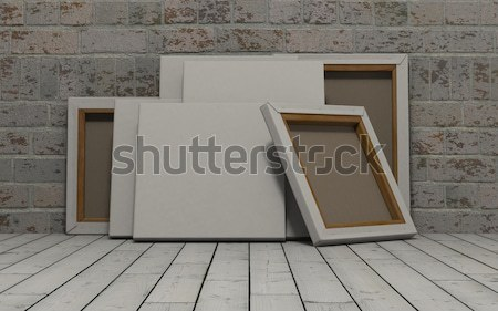 Blank Canvas on exposed brick wall Stock photo © kjpargeter