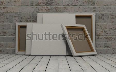 Photo stock: Toile · exposé · mur · de · briques · rendu · 3d · mur · blanche