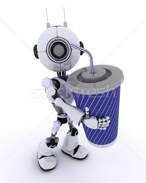 Robot soda 3d render adam film gelecek Stok fotoğraf © kjpargeter