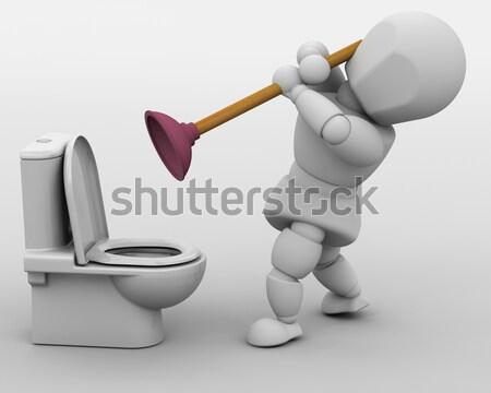 Tesisatçı sızıntı 3d render adam banyo Stok fotoğraf © kjpargeter