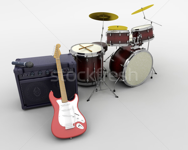 drum kit and guitar Stock photo © kjpargeter