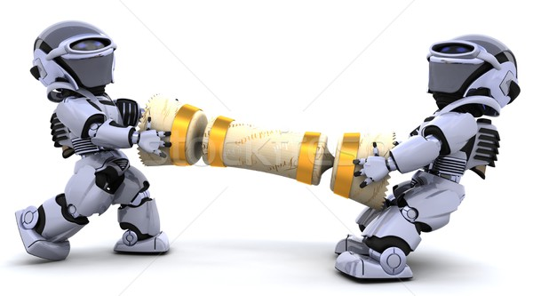robots pulling on a christmas cracker Stock photo © kjpargeter