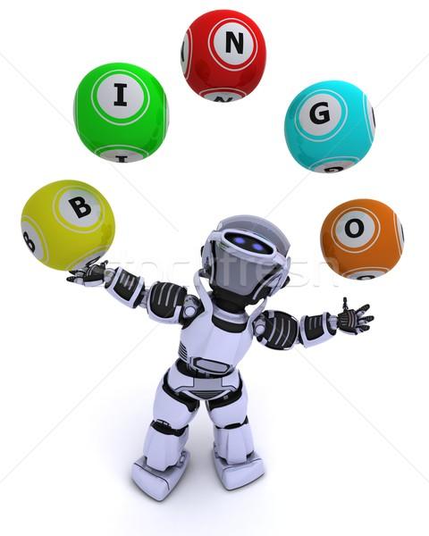робота бинго 3d визуализации мяча будущем Сток-фото © kjpargeter