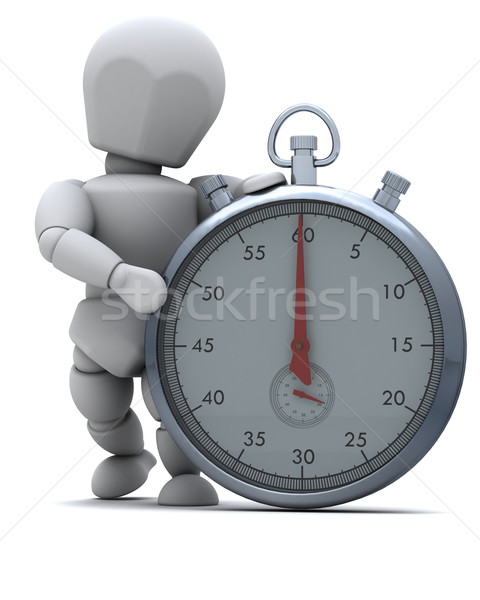 Man with a Traditional chrome stop watch Stock photo © kjpargeter