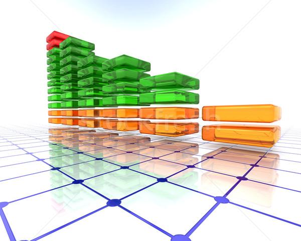 3D glass bar chart Stock photo © kjpargeter