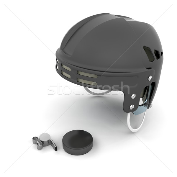 Ice hockey helmet, puck and whistle Stock photo © kjpargeter