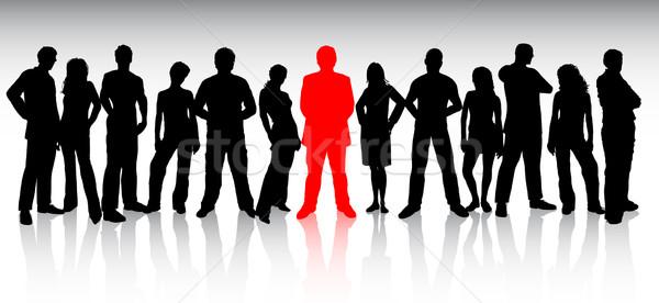 Kitűnik a tömegből tömeg háttér csoport vállalati sziluett Stock fotó © kjpargeter