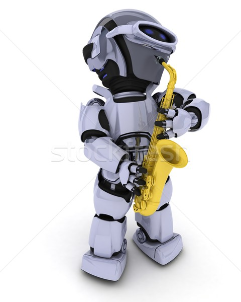 Robot playing the saxophone Stock photo © kjpargeter