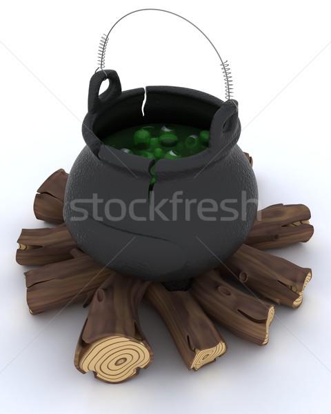 Chaudron feu rendu 3d magie pot Photo stock © kjpargeter