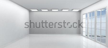 Habitación vacía Windows 3d construcción casa puerta Foto stock © kjpargeter