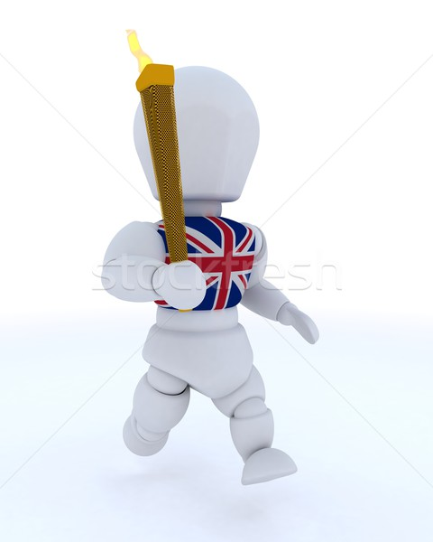 man running with olympic torch Stock photo © kjpargeter