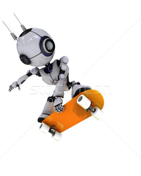 Robot gördeszkás 3d render férfi sport jókedv Stock fotó © kjpargeter