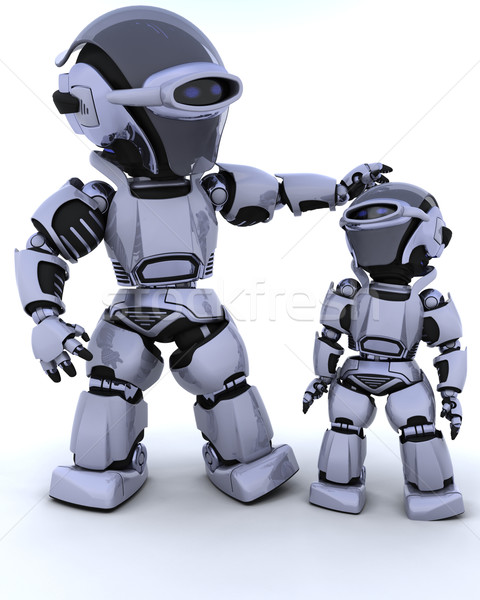 cute robot cyborg with child Stock photo © kjpargeter