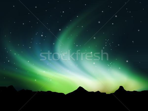 Nördlich Lichter Himmel Natur Stock foto © kjpargeter