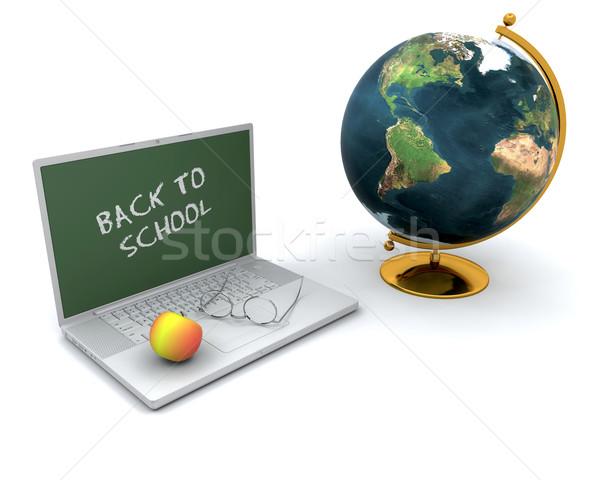 Stock fotó: Vissza · az · iskolába · 3d · render · alma · laptop · földgömb · iskola