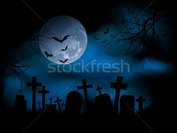 Kerkhof nacht kruis maan kwaad Stockfoto © kjpargeter