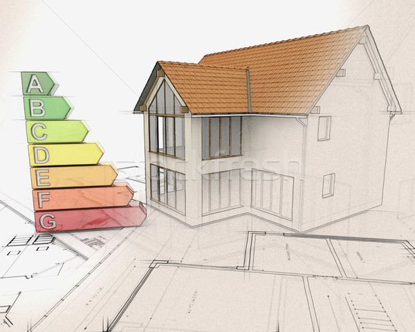 3D house and energy ratings with half in sketch phase Stock photo © kjpargeter