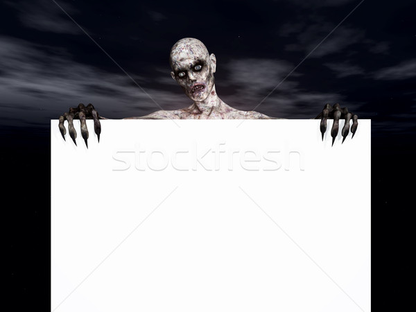 3D zombie holding a blank sign Stock photo © kjpargeter