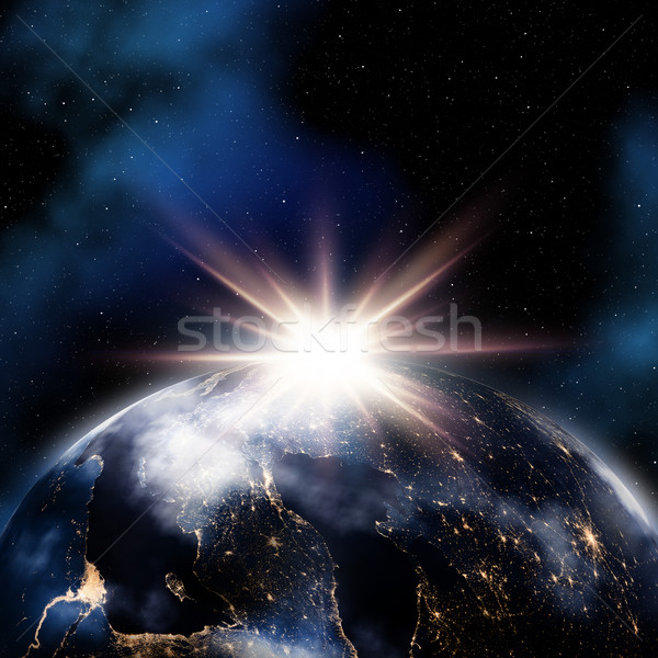 Abstract space background with night lights on Earth Stock photo © kjpargeter