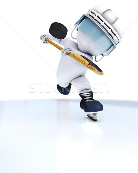 3D hombre jugando hockey sobre hielo 3d Foto stock © kjpargeter