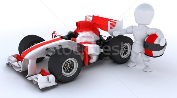 Férfi versenyzés autó 3d render versenyautó Stock fotó © kjpargeter