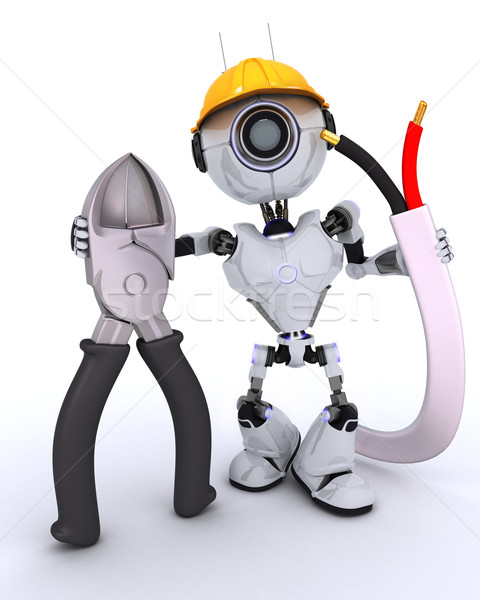 Robot builder with wire cutters Stock photo © kjpargeter