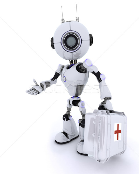 Robot paramedic with first aid kit Stock photo © kjpargeter