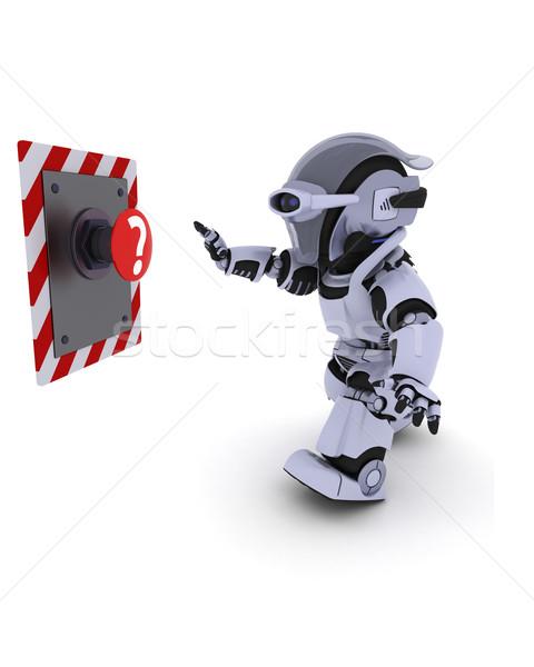 Robot voortvarend knop 3d render toekomst moderne Stockfoto © kjpargeter