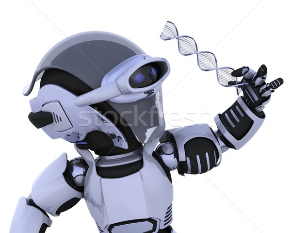 robot inspecting a DNA strand Stock photo © kjpargeter