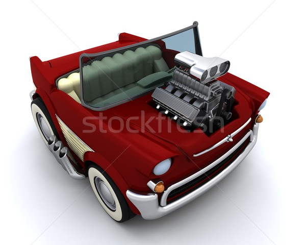 Charicature of supercharged 50's classic car Stock photo © kjpargeter