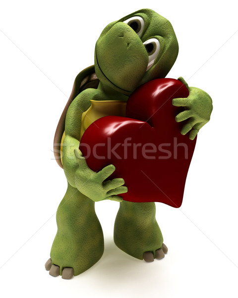 Tortoise Caricature hugging a heart Stock photo © kjpargeter