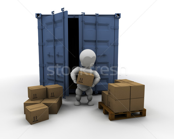 Person unloading freight container Stock photo © kjpargeter
