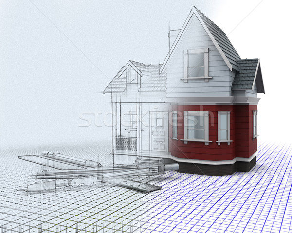 £d timber house on a grid with drawing instruments with half sk Stock photo © kjpargeter