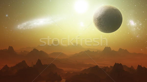 Planetry terrain with planets in the sky Stock photo © kjpargeter