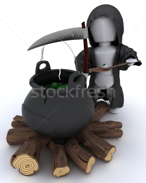 grim reaper with cauldron of eyeballs on log fire Stock photo © kjpargeter