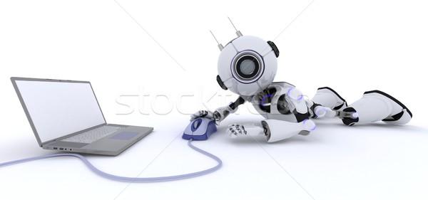 Robot dizüstü bilgisayar 3d render adam fare gelecek Stok fotoğraf © kjpargeter