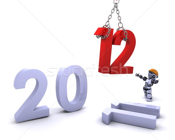 Robot Bringing the new year in Stock photo © kjpargeter